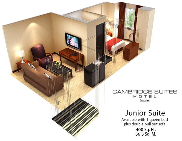 400 Sq Ft cambridge suites halifax - suites - studio suite